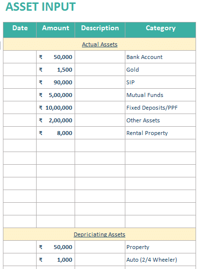 Asset Input in personal financial statement